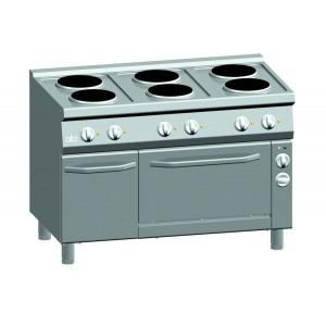 Kooktafel ATA elektrisch 6-plaats + elektrische oven 1/1 GN + deur