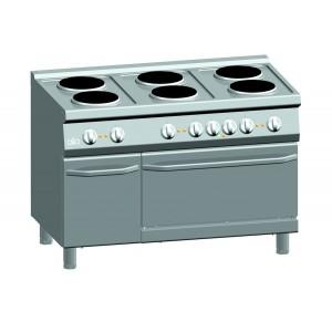 Kooktafel ATA elektrisch 6-plaats + elektrische oven 2/1 GN + deur